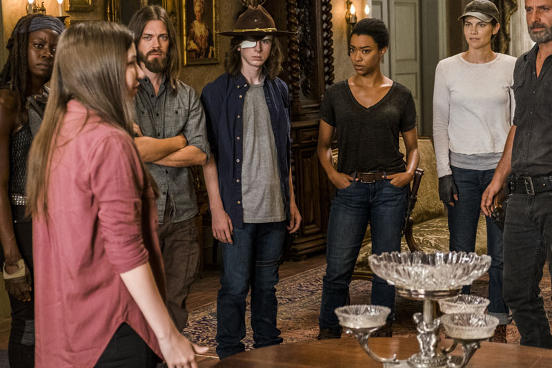 Katelyn Nacon as Enid, Danai Gurira as Michonne, Tom Payne as Paul 'Jesus' Rovia, Chandler Riggs as Carl Grimes, Sonequa Martin-Green as Sasha Williams, Lauren Cohan as Maggie Greene, Andrew Lincoln as Rick Grimes - The Walking Dead _ Season 7, Episode 9 - Photo Credit: Gene Page/AMC
